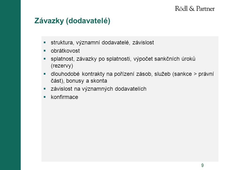 9 Závazky (dodavatelé)  struktura, významní dodavatelé, závislost  obrátkovost  splatnost, závazky po splatnosti, výpočet sankčních úroků (rezervy)