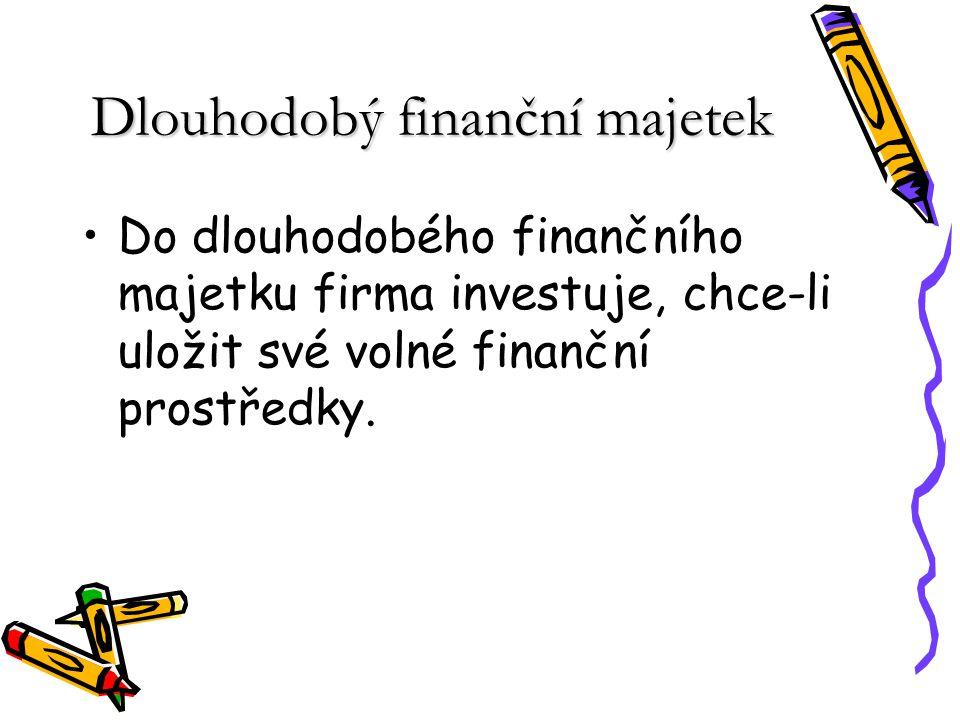 Do dlouhodobého finančního majetku patří: –dlouhodobé cenné papíry, které podnik nakupuje na dobu delší než jeden rok (akcie, obligace, vklady) –půjčky poskytnuté podnikům na dobu delší než jeden rok