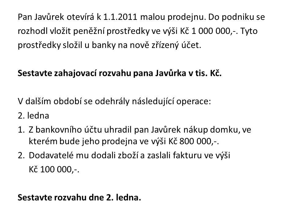 Pan Javůrek otevírá k 1.1.2011 malou prodejnu. Do podniku se rozhodl vložit peněžní prostředky ve výši Kč 1 000 000,-. Tyto prostředky složil u banky