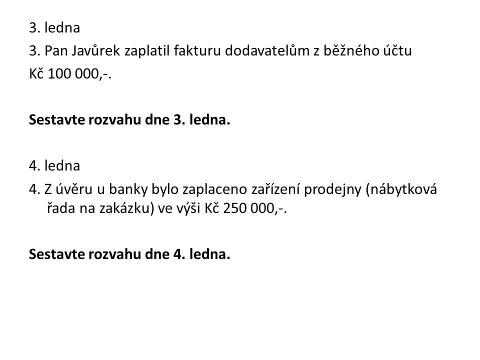 3. ledna 3. Pan Javůrek zaplatil fakturu dodavatelům z běžného účtu Kč 100 000,-. Sestavte rozvahu dne 3. ledna. 4. ledna 4. Z úvěru u banky bylo zapl
