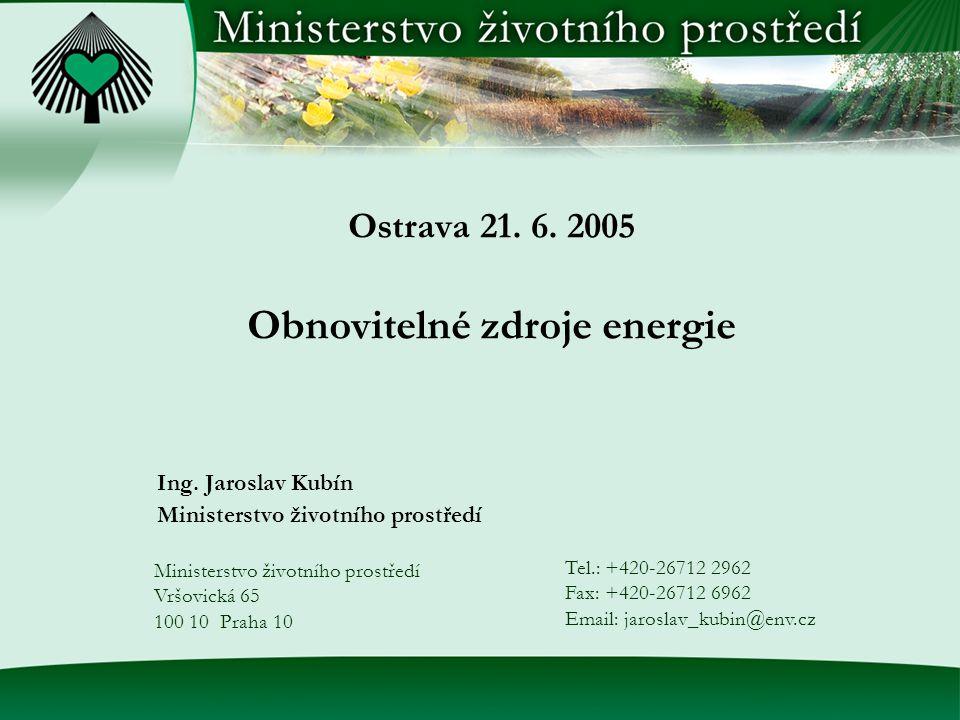 Ostrava 21. 6. 2005 Obnovitelné zdroje energie Ing.