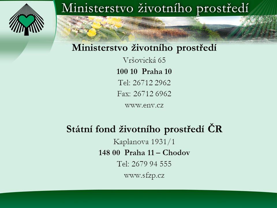 Ministerstvo životního prostředí Vršovická 65 100 10 Praha 10 Tel: 26712 2962 Fax: 26712 6962 www.env.cz Státní fond životního prostředí ČR Kaplanova 1931/1 148 00 Praha 11 – Chodov Tel: 2679 94 555 www.sfzp.cz