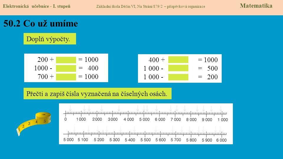 50.2 Co už umíme Elektronická učebnice - I. stupeň Základní škola Děčín VI, Na Stráni 879/2 – příspěvková organizace Matematika Doplň výpočty. 200 + =