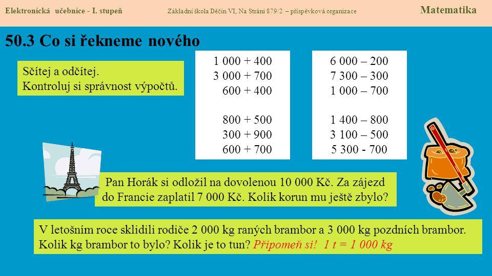 50.3 Co si řekneme nového Elektronická učebnice - I. stupeň Základní škola Děčín VI, Na Stráni 879/2 – příspěvková organizace Matematika 1 000 + 400 3