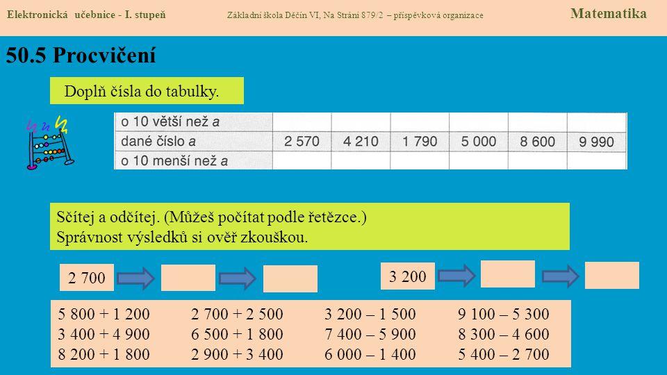 50.5 Procvičení Elektronická učebnice - I. stupeň Základní škola Děčín VI, Na Stráni 879/2 – příspěvková organizace Matematika Doplň čísla do tabulky.