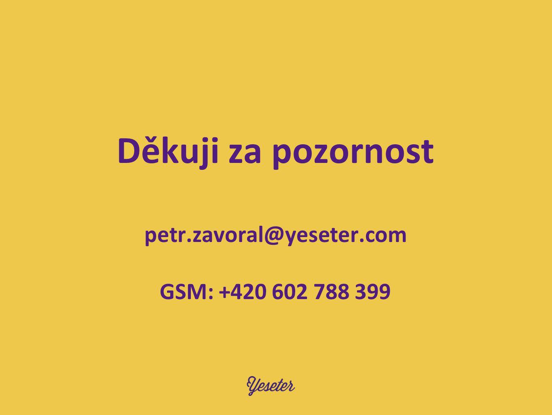 Děkuji za pozornost petr.zavoral@yeseter.com GSM: +420 602 788 399