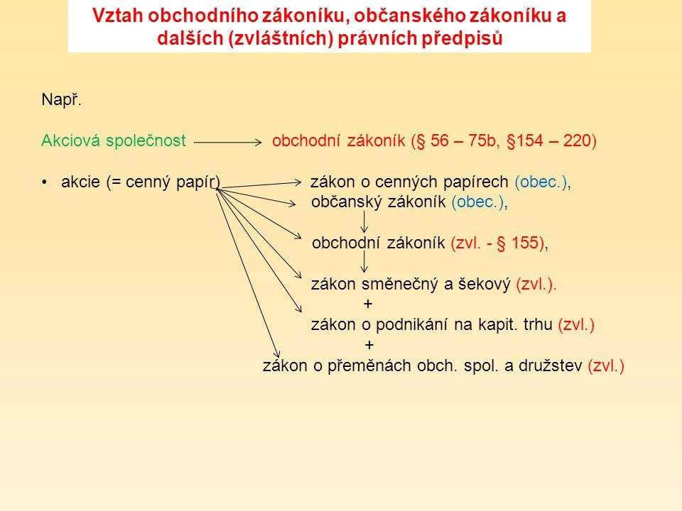 Vztah obchodního zákoníku, občanského zákoníku a dalších (zvláštních) právních předpisů Např. Akciová společnost obchodní zákoník (§ 56 – 75b, §154 –