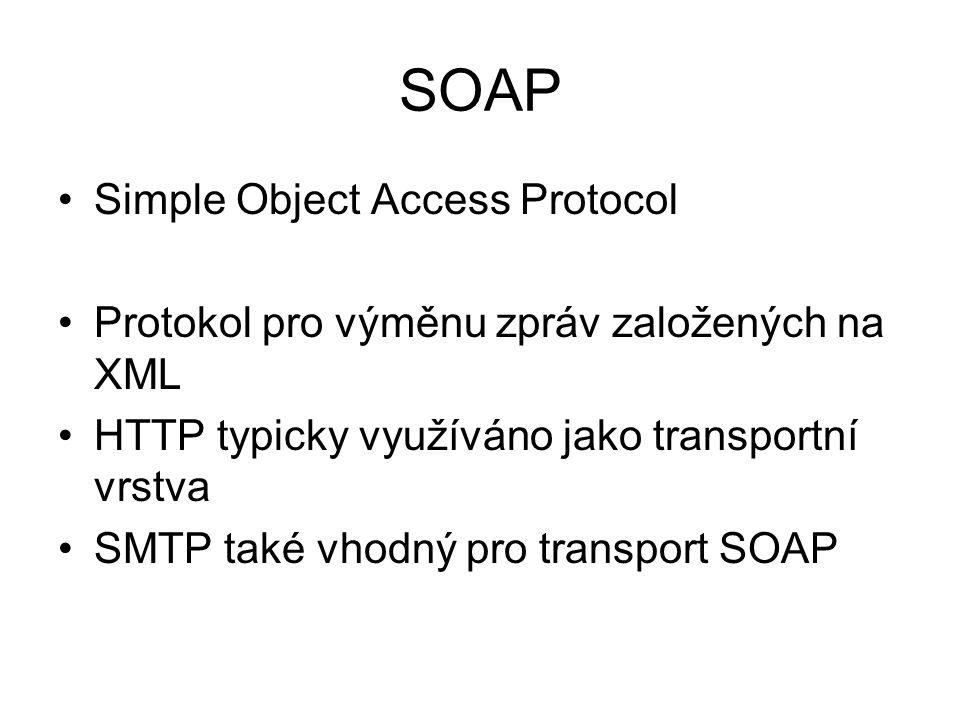 SOAP Simple Object Access Protocol Protokol pro výměnu zpráv založených na XML HTTP typicky využíváno jako transportní vrstva SMTP také vhodný pro transport SOAP