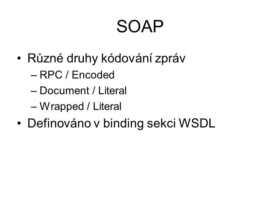 SOAP Různé druhy kódování zpráv –RPC / Encoded –Document / Literal –Wrapped / Literal Definováno v binding sekci WSDL