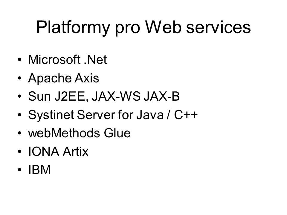 Microsoft.Net Apache Axis Sun J2EE, JAX-WS JAX-B Systinet Server for Java / C++ webMethods Glue IONA Artix IBM