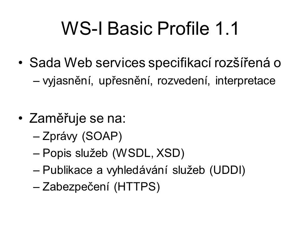 WS-I Basic Profile 1.1 Sada Web services specifikací rozšířená o –vyjasnění, upřesnění, rozvedení, interpretace Zaměřuje se na: –Zprávy (SOAP) –Popis služeb (WSDL, XSD) –Publikace a vyhledávání služeb (UDDI) –Zabezpečení (HTTPS)