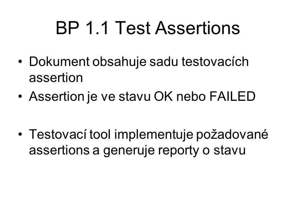 BP 1.1 Test Assertions Dokument obsahuje sadu testovacích assertion Assertion je ve stavu OK nebo FAILED Testovací tool implementuje požadované assertions a generuje reporty o stavu
