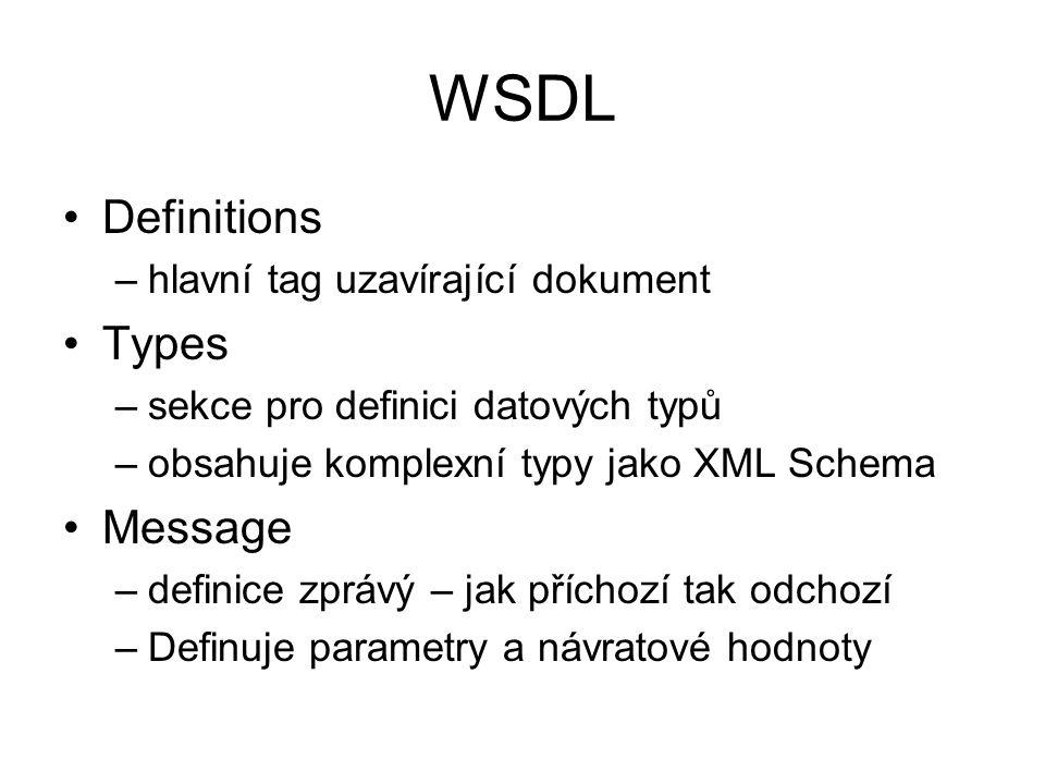 WSDL Definitions –hlavní tag uzavírající dokument Types –sekce pro definici datových typů –obsahuje komplexní typy jako XML Schema Message –definice zprávý – jak příchozí tak odchozí –Definuje parametry a návratové hodnoty