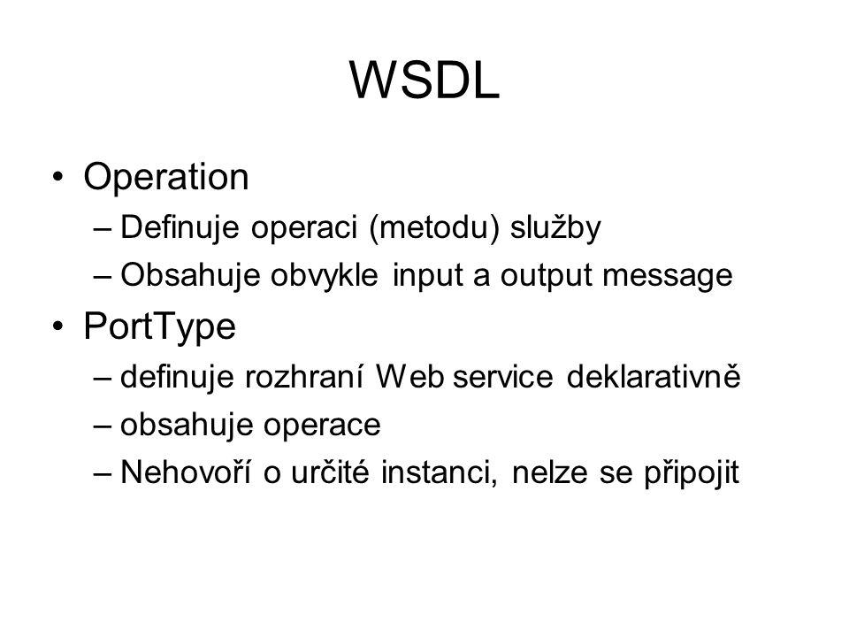 WSDL Operation –Definuje operaci (metodu) služby –Obsahuje obvykle input a output message PortType –definuje rozhraní Web service deklarativně –obsahuje operace –Nehovoří o určité instanci, nelze se připojit