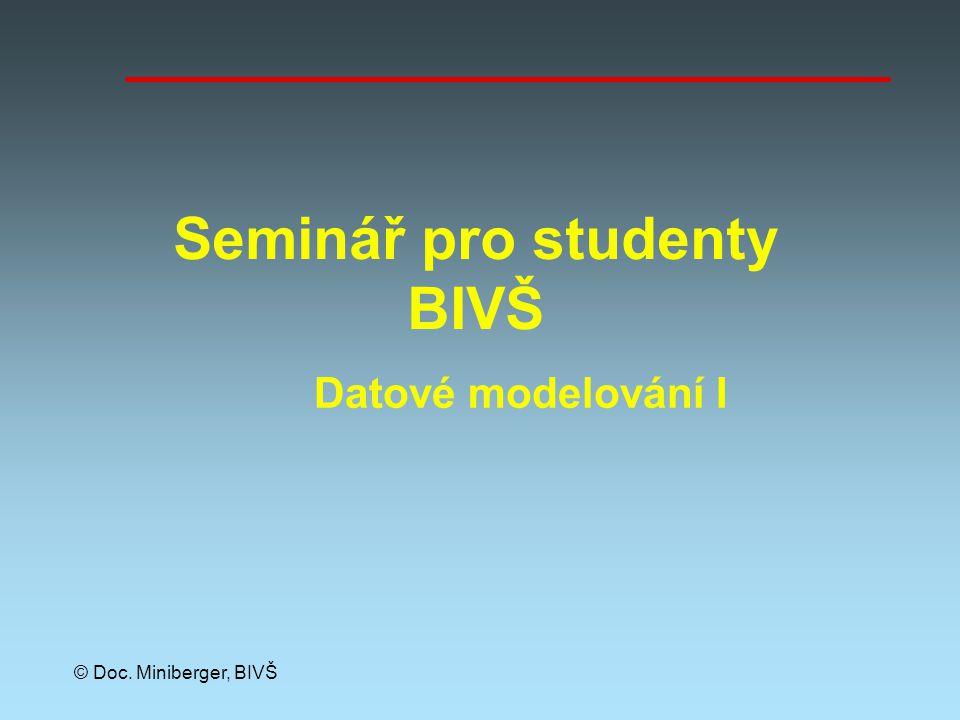 © Doc. Miniberger, BIVŠ Seminář pro studenty BIVŠ Datové modelování I