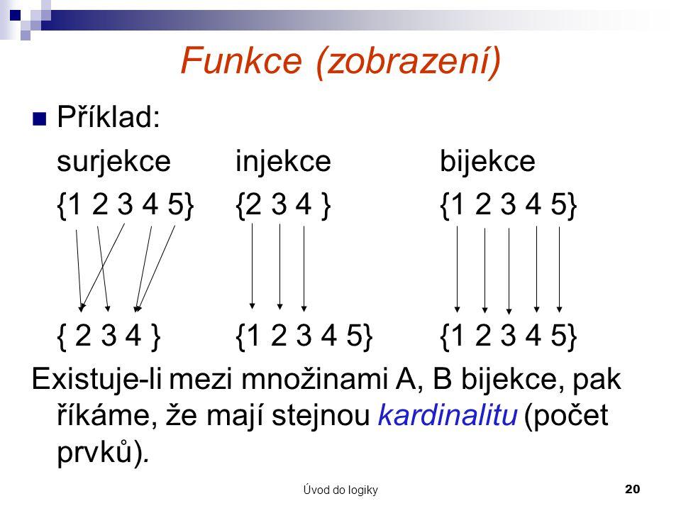 Úvod do logiky20 Funkce (zobrazení) Příklad: surjekceinjekcebijekce {1 2 3 4 5}{2 3 4 }{1 2 3 4 5} { 2 3 4 }{1 2 3 4 5}{1 2 3 4 5} Existuje-li mezi množinami A, B bijekce, pak říkáme, že mají stejnou kardinalitu (počet prvků).