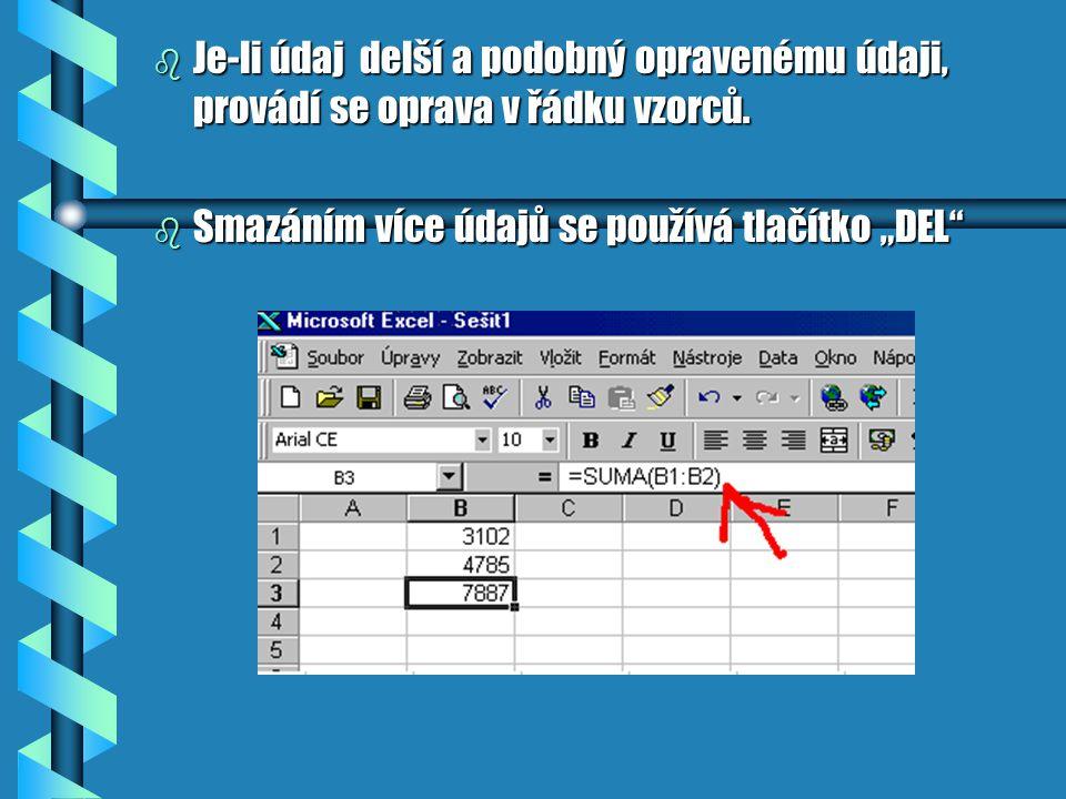 Jednoduché opravy údajů b Úpravy údajů se provádí přepsáním jiným údajem nebo jeho opravou b zanedbá-li se úprava a formátování, může se to vymstít ve