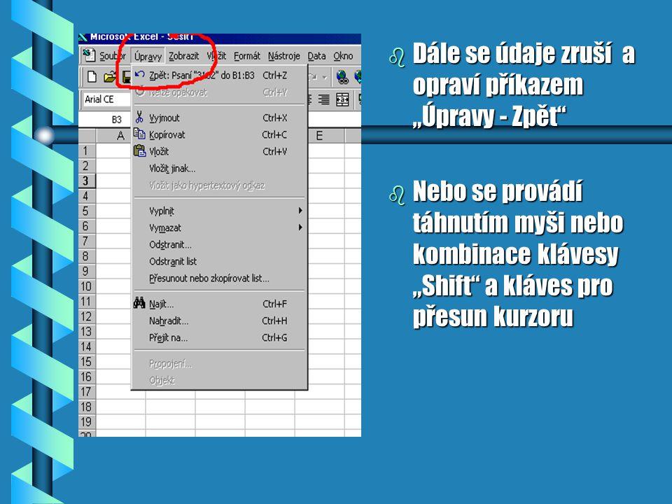 """b Dále se údaje zruší a opraví příkazem """"Úpravy - Zpět b Nebo se provádí táhnutím myši nebo kombinace klávesy """"Shift a kláves pro přesun kurzoru"""