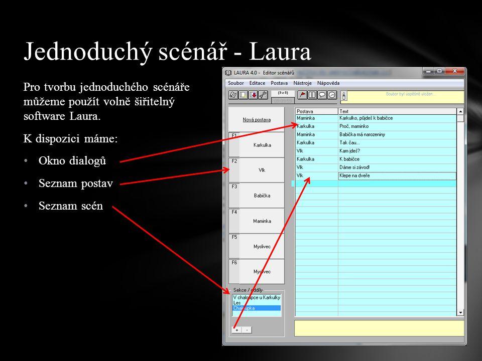 Pro tvorbu jednoduchého scénáře můžeme použít volně šiřitelný software Laura. K dispozici máme: Okno dialogů Seznam postav Seznam scén Jednoduchý scén