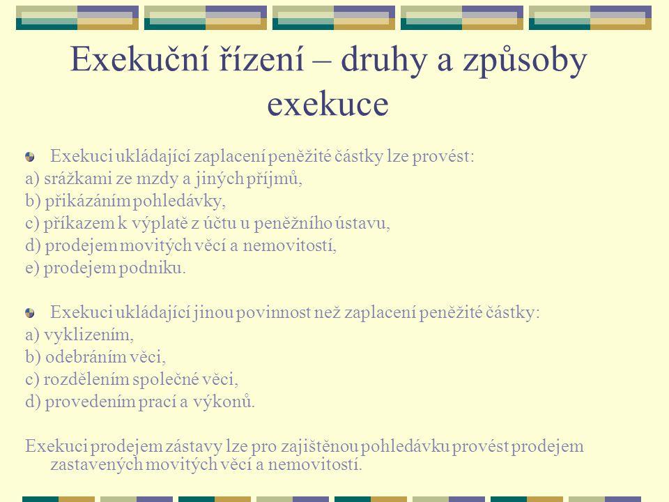 Exekuční řízení – druhy a způsoby exekuce Exekuci ukládající zaplacení peněžité částky lze provést: a) srážkami ze mzdy a jiných příjmů, b) přikázáním pohledávky, c) příkazem k výplatě z účtu u peněžního ústavu, d) prodejem movitých věcí a nemovitostí, e) prodejem podniku.