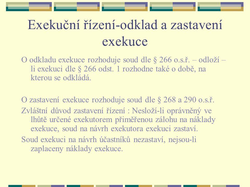 Exekuční řízení-odklad a zastavení exekuce O odkladu exekuce rozhoduje soud dle § 266 o.s.ř.