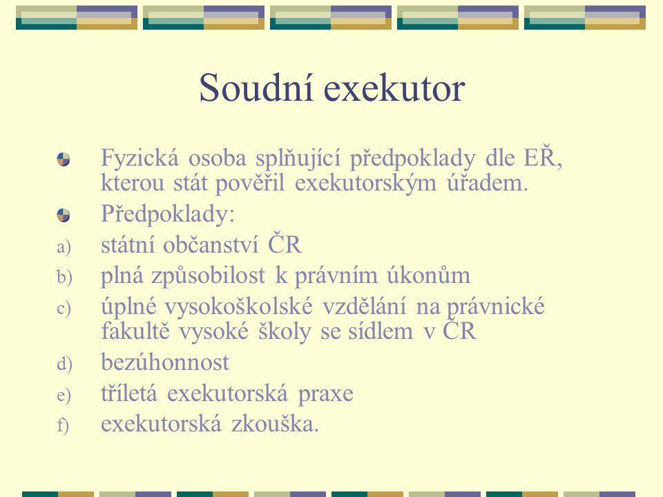 Soudní exekutor Fyzická osoba splňující předpoklady dle EŘ, kterou stát pověřil exekutorským úřadem.