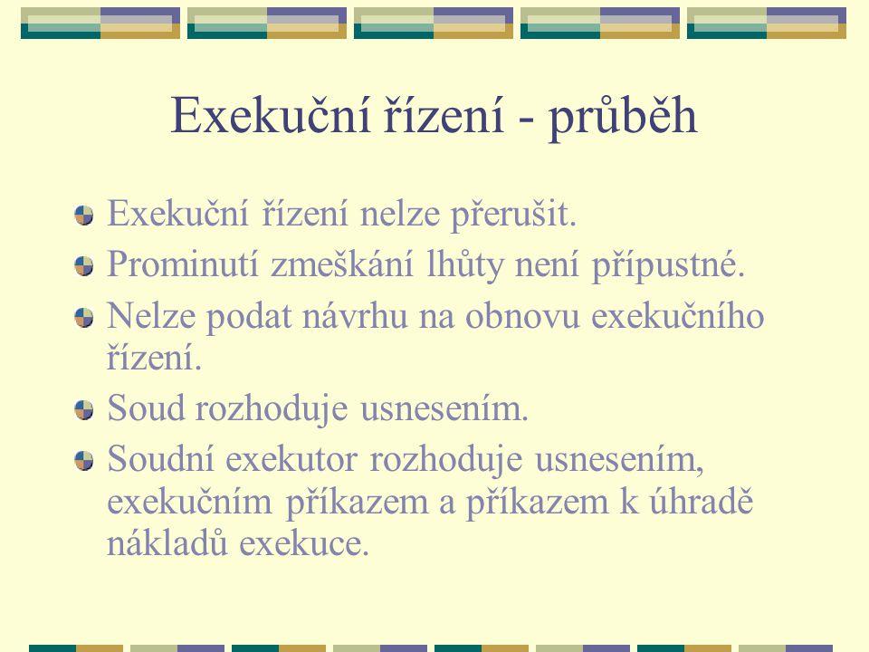 Exekuční řízení - průběh Exekuční řízení nelze přerušit.