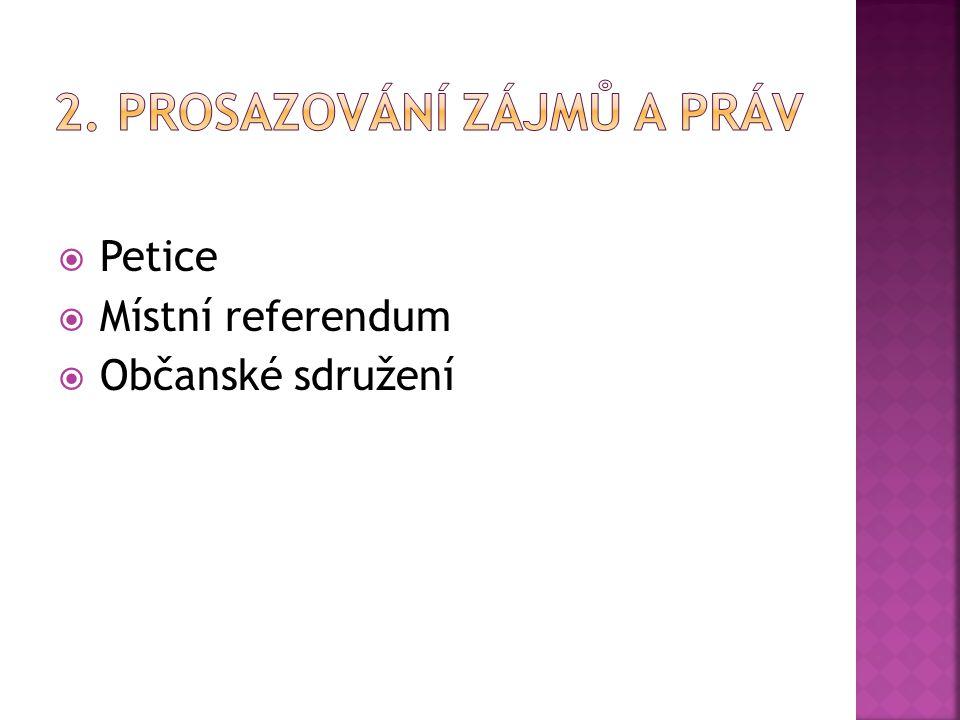  Petice  Místní referendum  Občanské sdružení