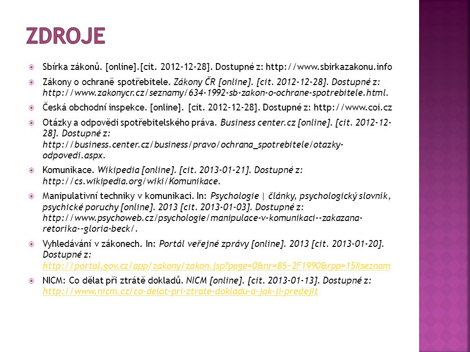  Sbírka zákonů.[online].[cit. 2012-12-28].