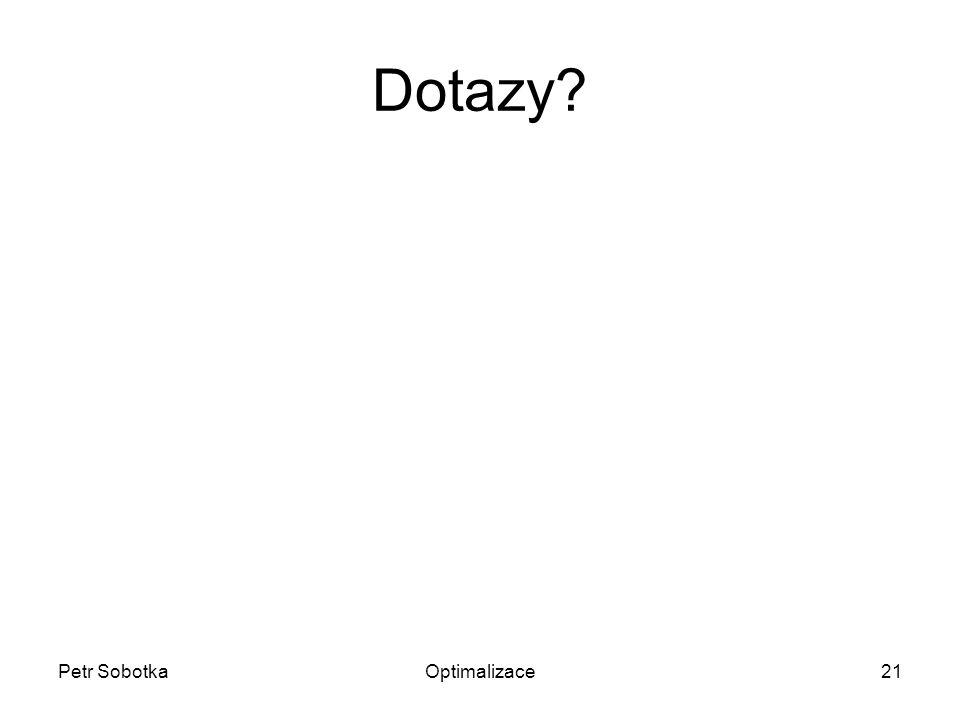 Petr SobotkaOptimalizace21 Dotazy?