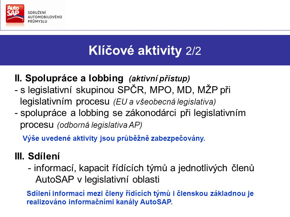 Klíčové aktivity 2/2 II.
