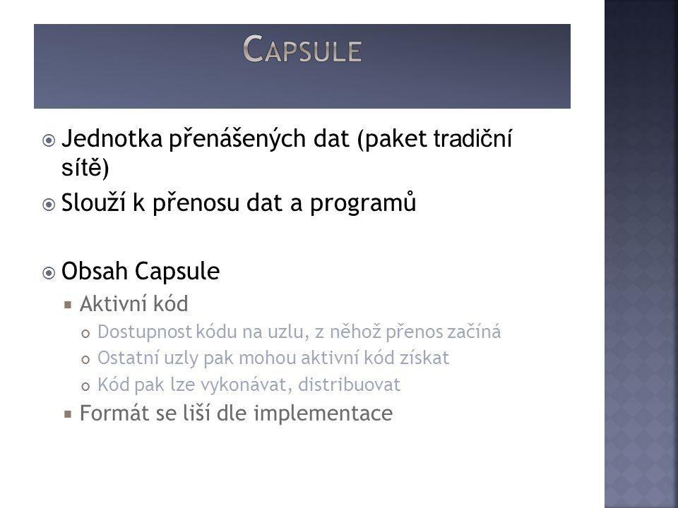  Jednotka přenášených dat (paket tradiční sítě )  Slouží k přenosu dat a programů  Obsah Capsule  Aktivní kód Dostupnost kódu na uzlu, z něhož přenos začíná Ostatní uzly pak mohou aktivní kód získat Kód pak lze vykonávat, distribuovat  Formát se liší dle implementace
