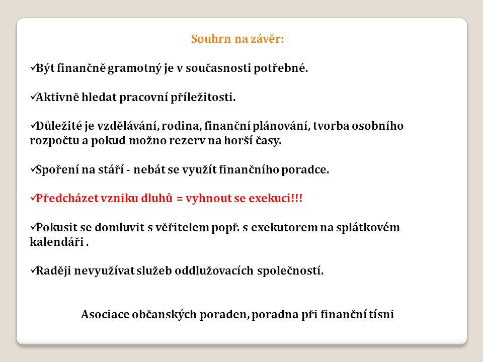 Souhrn na závěr: Být finančně gramotný je v současnosti potřebné. Aktivně hledat pracovní příležitosti. Důležité je vzdělávání, rodina, finanční pláno