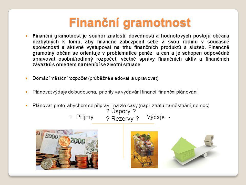 Finanční gramotnost Finanční gramotnost je soubor znalostí, dovedností a hodnotových postojů občana nezbytných k tomu, aby finančně zabezpečil sebe a