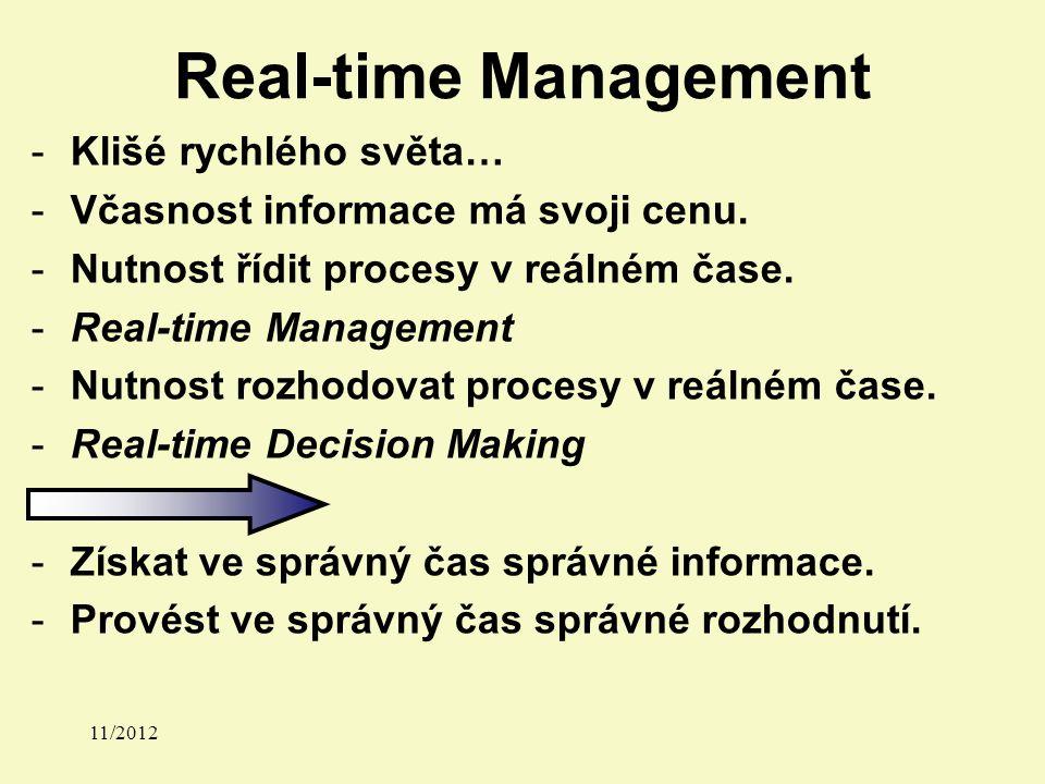 Real-time Management -Klišé rychlého světa… -Včasnost informace má svoji cenu.