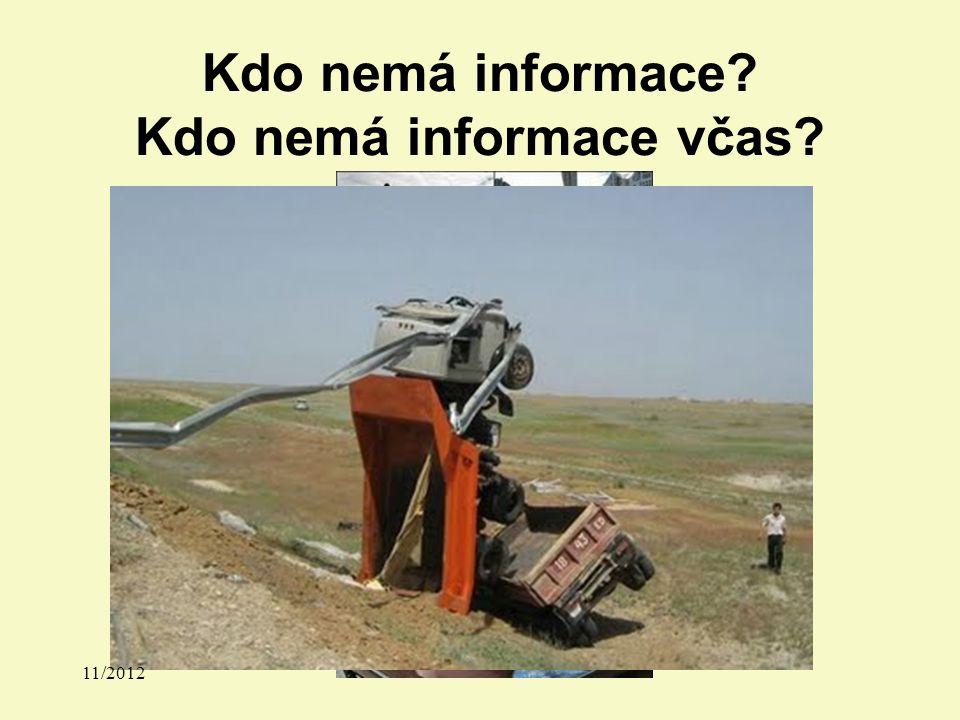 Kdo nemá informace? Kdo nemá informace včas? 11/2012
