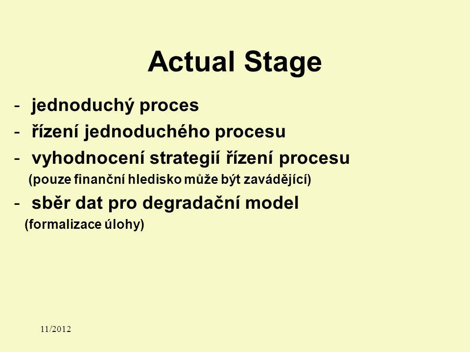 Actual Stage 11/2012 -jednoduchý proces -řízení jednoduchého procesu -vyhodnocení strategií řízení procesu (pouze finanční hledisko může být zavádějící) -sběr dat pro degradační model (formalizace úlohy)