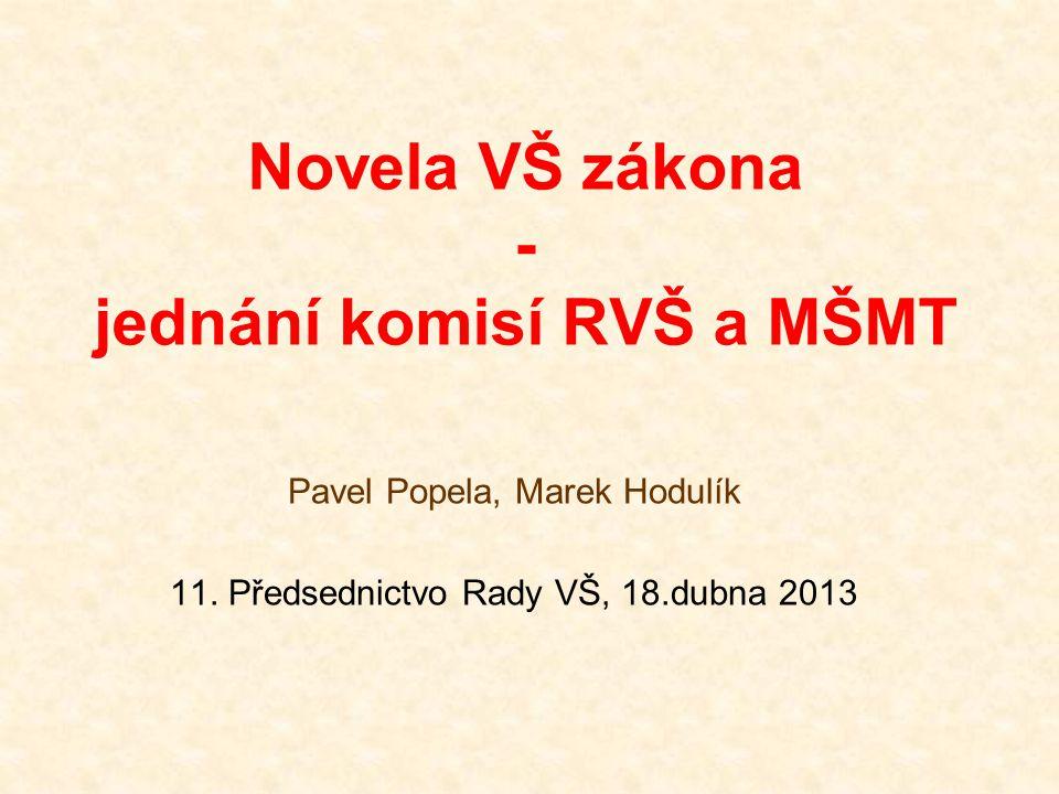 Novela VŠ zákona - jednání komisí RVŠ a MŠMT Pavel Popela, Marek Hodulík 11. Předsednictvo Rady VŠ, 18.dubna 2013