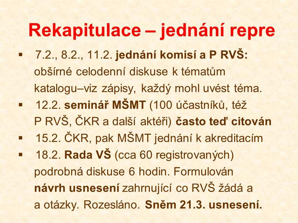 Rekapitulace – jednání repre  7.2., 8.2., 11.2. jednání komisí a P RVŠ: obšírné celodenní diskuse k tématům katalogu–viz zápisy, každý mohl uvést tém