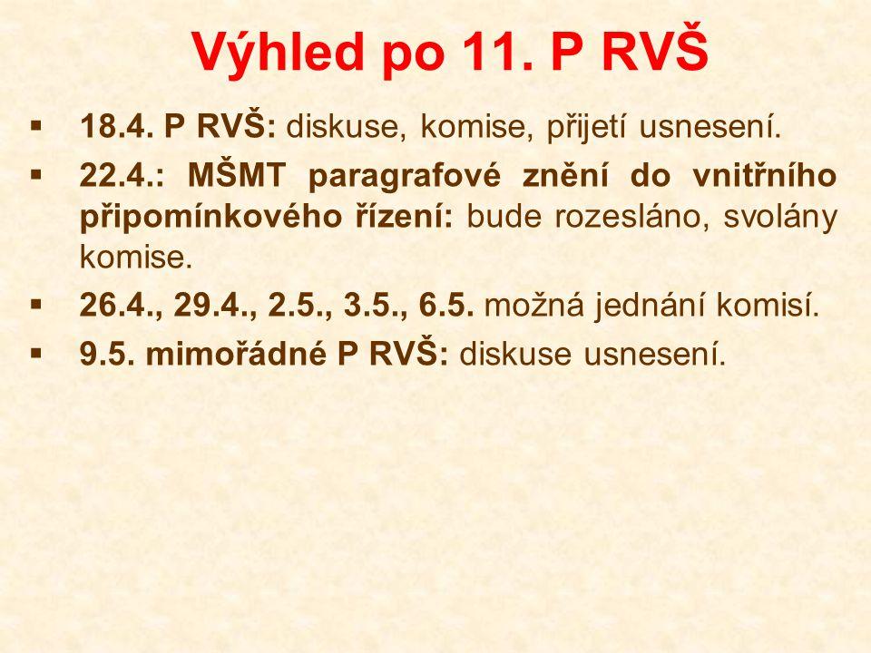 Výhled po 11. P RVŠ  18.4. P RVŠ: diskuse, komise, přijetí usnesení.  22.4.: MŠMT paragrafové znění do vnitřního připomínkového řízení: bude rozeslá