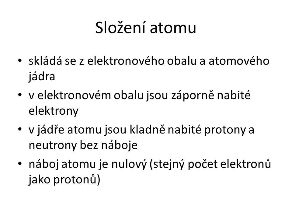 Složení atomu skládá se z elektronového obalu a atomového jádra v elektronovém obalu jsou záporně nabité elektrony v jádře atomu jsou kladně nabité pr