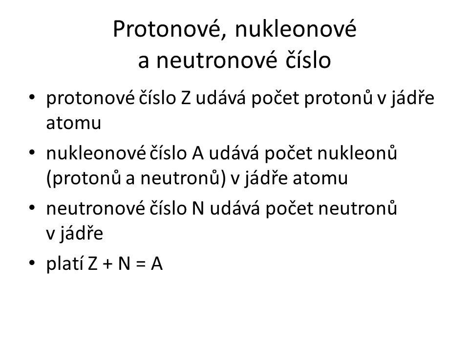 Protonové, nukleonové a neutronové číslo protonové číslo Z udává počet protonů v jádře atomu nukleonové číslo A udává počet nukleonů (protonů a neutro