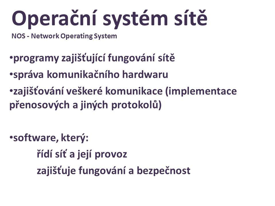 Operační systém sítě NOS - Network Operating System programy zajišťující fungování sítě správa komunikačního hardwaru zajišťování veškeré komunikace (implementace přenosových a jiných protokolů) software, který: řídí síť a její provoz zajišťuje fungování a bezpečnost