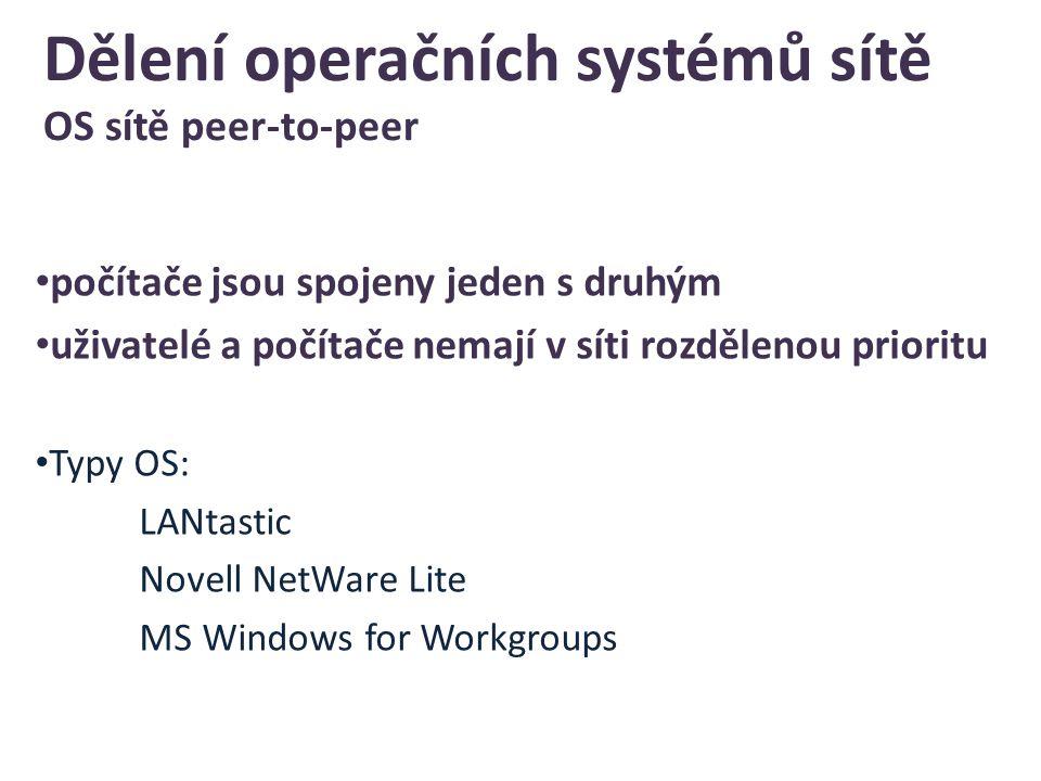 Dělení operačních systémů sítě OS sítě peer-to-peer počítače jsou spojeny jeden s druhým uživatelé a počítače nemají v síti rozdělenou prioritu Typy OS: LANtastic Novell NetWare Lite MS Windows for Workgroups