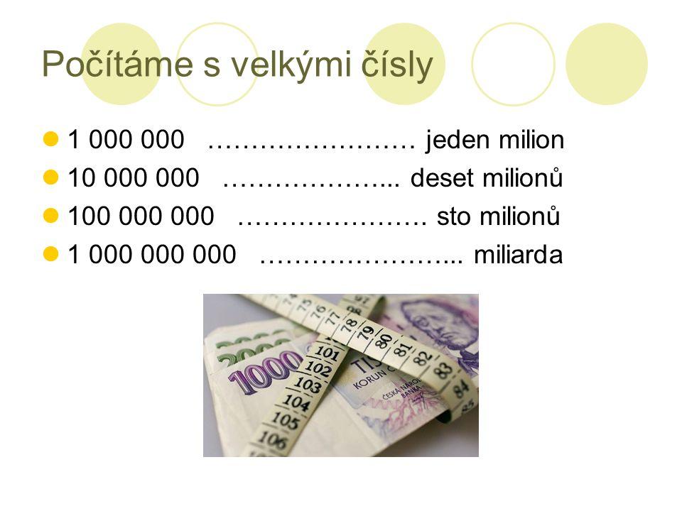 Počítáme s velkými čísly 1 000 000 …………………… jeden milion 10 000 000 ………………... deset milionů 100 000 000 …………………. sto milionů 1 000 000 000 …………………...