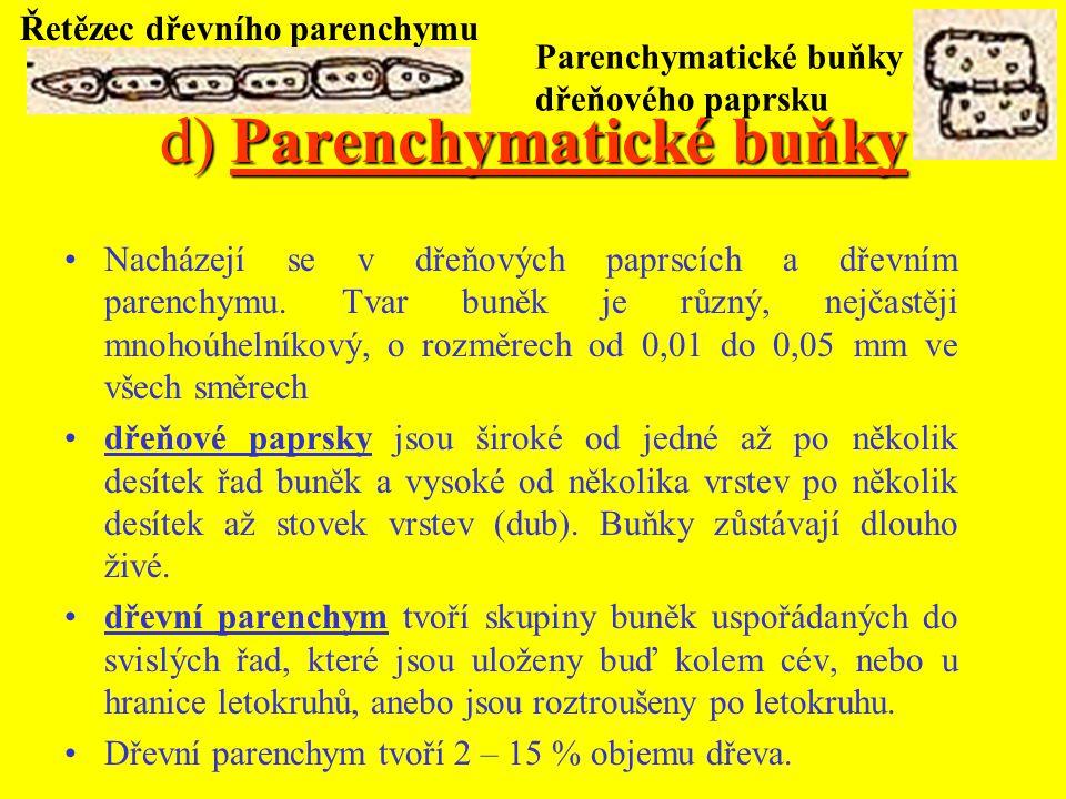 d) Parenchymatické buňky Nacházejí se v dřeňových paprscích a dřevním parenchymu.