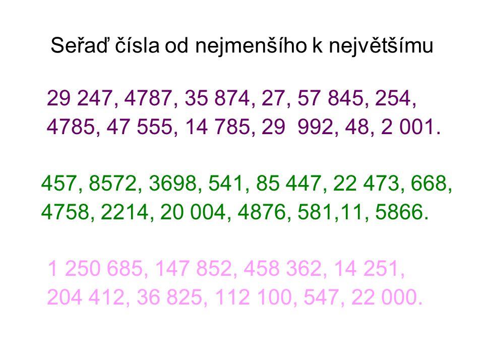 Seřaď čísla od nejmenšího k největšímu 29 247, 4787, 35 874, 27, 57 845, 254, 4785, 47 555, 14 785, 29 992, 48, 2 001. 457, 8572, 3698, 541, 85 447, 2