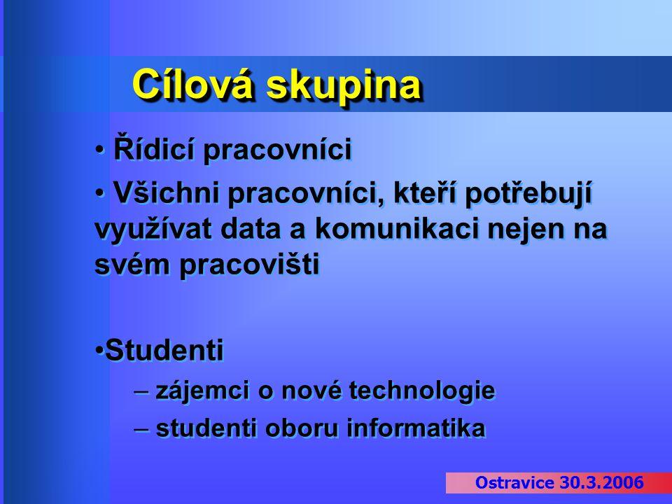 Ostravice 30.3.2006 Cílová skupina Řídicí pracovníci Všichni pracovníci, kteří potřebují využívat data a komunikaci nejen na svém pracovišti Studenti