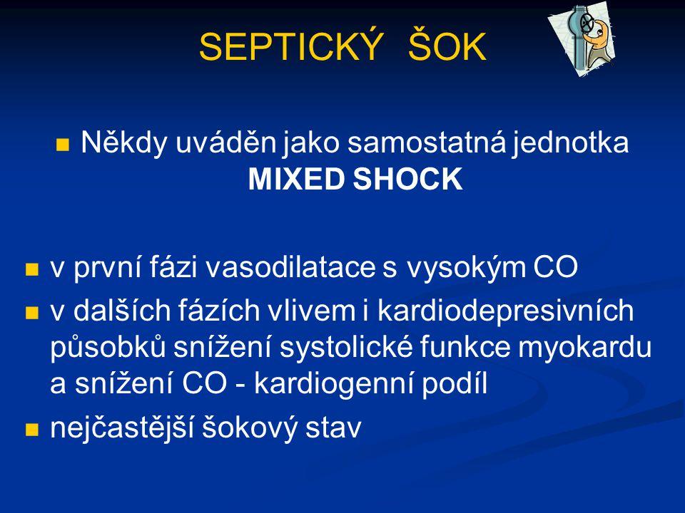 SEPTICKÝ ŠOK Někdy uváděn jako samostatná jednotka MIXED SHOCK v první fázi vasodilatace s vysokým CO v dalších fázích vlivem i kardiodepresivních půs