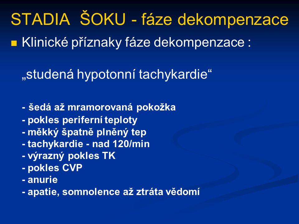 """STADIA ŠOKU - fáze dekompenzace Klinické příznaky fáze dekompenzace : """"studená hypotonní tachykardie"""" - šedá až mramorovaná pokožka - pokles periferní"""